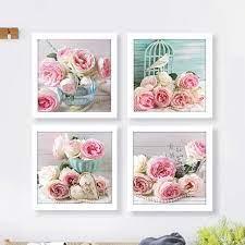 shabby chic rose pearl wall art