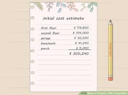 How To Prepare An Estimate How To Prepare A Bill Of Quantities 15 Steps Wikihow
