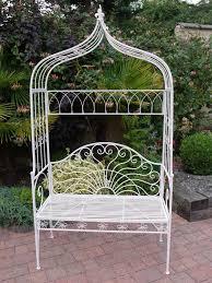 white iron garden furniture. Delightful Shabby Chic Vintage Style White Arch Wrought Iron Garden Bench Seat Furniture R