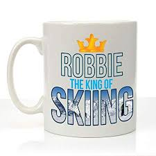 personalised the king of skiing mug male ski gift ideas skier gifts for him