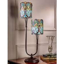 twin stem stained glass lamp