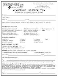 Membership List Rental Form Landscape Ontario