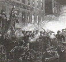 Социальные движения в США конец xix века Новая история  Полиция разгоняет забастовку в Чикаго 1886 г Гравюра конца xix в