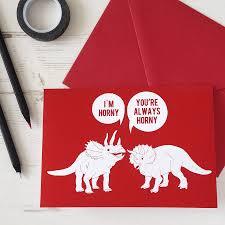Horny Dinosaurs Rude Valentines Card