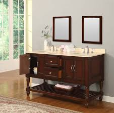 picture of 60 mission turnleg style double bathroom vanity sink console beige marble top