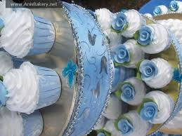 11 Blue And White Wedding Cakes With Cupcakes Photo Navy Blue