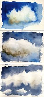 clouds watercolor bo soremsky Übung a set of three images experimentation