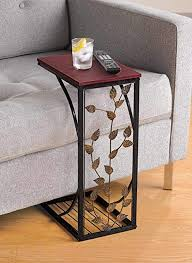 sofa side and end table small metal dark brown wood top with leaf