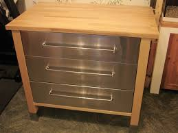ikea varde freestanding three drawer stainless steel and wood kitchen base unit