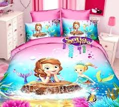 the first mermaid cartoon bedding sets girls bedroom decor single twin size bed sheets quilt sofia