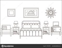 Hotelkamer Slaapkamer Interieur Vector Een Overzicht Van Retro Huis