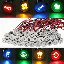 Arcolectric Indicator Lights 12v 24v 12mm Metal Led Dash Panel Warning Pilot Light Indicator Lamp Car Van