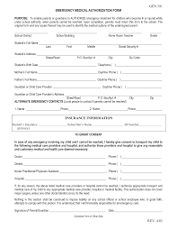 Medical Authorization Form Template Emergency Medical Form Template Medical Form Templates 11