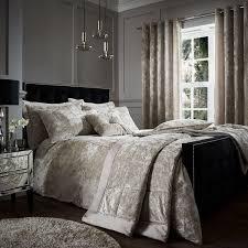 catherine lansfield luxury crushed velvet duvet cover set natural cream