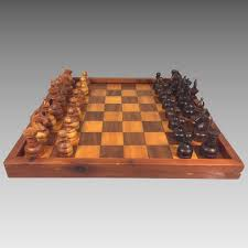 Vintage Wooden Board Games Vintage Carved Wooden Chess Set wInlaid Wood Game Board Felt 55