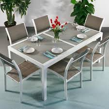 aluminium garden dining table. modern_6_seater_metal_aluminium_glass_top_white_champagne_extending_garden_outdoor_dining_table_set_3 aluminium garden dining table t