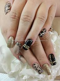 nude+black+and+gold+freehand+nail+art+over+acrylic+nails | Nails ...