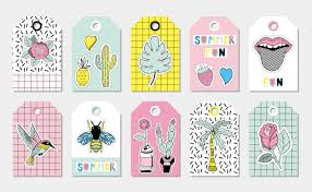 Summer Gift Tags Summer Gift Tags With Cloth Patches Vector Premium Download