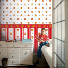 Man Utd Bedroom Wallpaper Decofun Manchester Utd Striped Wallpaper Mufc Official Wp40001