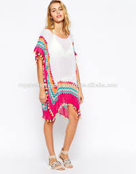 Stylish Beach Kaftan By Royals Semi Sheer Beaded V Neckline