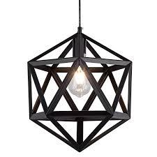 Geometric Pendant Light Slkzmd Industrial Polyhedron Pendant Lights Black Wrought