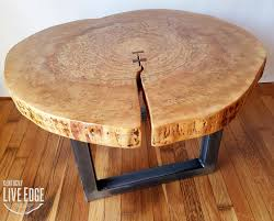 living edge furniture. Round Coffee Table- Live Edge- Industrial- Tree Slice- Log- Rustic- Furniture- Living Room- Side End Natural Wood- Maple Slab Edge Furniture N