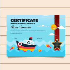 Children Certificate Template Cute Fishing Theme Children Certificate Of Achievement And