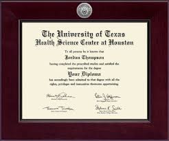 university of texas health science center at houston century  university of texas health science center at houston century silver engraved diploma frame in cordova item 249572