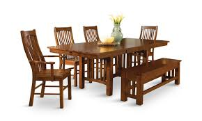 laurelhurst solid oak mission dining table and 4 side chairs