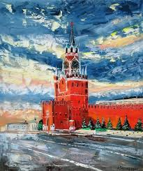 moscow kremlin original palette knife oil painting on canvas painting by alena shymchonak
