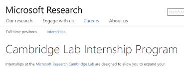 Microsoft Research Cambridge Lab Internship Program Uk Armacad