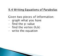 9 4 writing equations of parabolas
