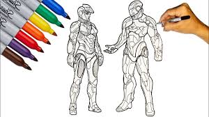In movies, they meet for the first time in the movie captan america : Iron Man With Iron Girl Marvel Hero Coloring Pages How To Draw Iron Man Youtube