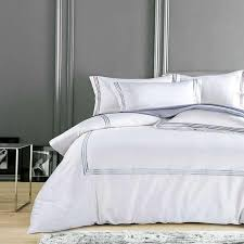 pure white luxury hotel bedding sets king queen size silver gold embroidery duvet cover cotton bed sheet linen set pillow cover queen comforter sets