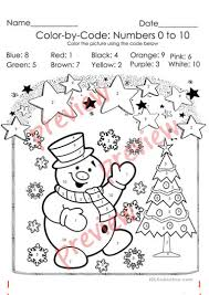 Can your child color this bear? Christmas Color By Code Christmas Coloring Pages Numbers 1 10 Activities English Esl Worksheets For Distance Learning And Physical Classrooms