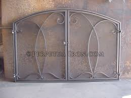 fireplace screen 2 1 custom design in mesh doors with an inset frame and bronze finish
