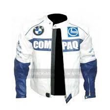 mens bmw compaq white leather motorcycle jacket zoom mens