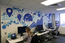 cool office art. Office:Popular Office Art Work With Blue Color Concept Ideas Plus Long White Table Cool