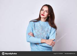 Colors To Wear With Light Blue Beautiful Sexy Brunette Long Hair Woman Wear Light Blue