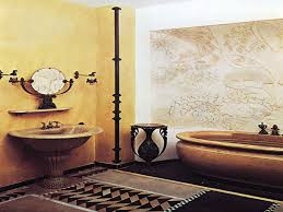Modern Art Deco Bathrooms Mesmerizing Art Wall Paper With Leaf Pattern Added Vintage Round