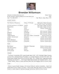 Musical Theatre Resume Resume Brendan Williamson Musical Theater Performer 90