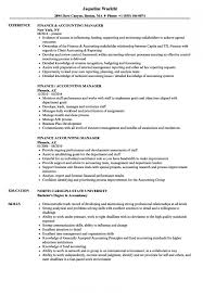 Resume Examples Accounting Fascinating Finance Accounting Manager Resume Samples Velvet Jobs Within