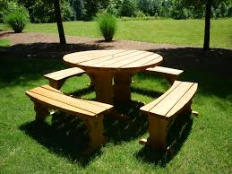 round picnic table with benches round table furniture round in in round wood picnic table