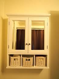 white wooden floating bathroom cabinet with double mirror doors and