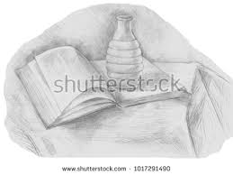 academic drawing book and vase isolated on white background pencil drawing still life