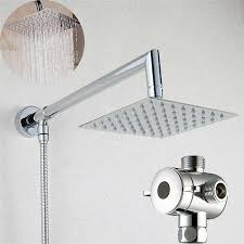 6 square rainfall shower head with shower arm bottom entry 3 way dual shower head diverter