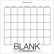 Blank Undated Calendar Undated Monthly Calendar Book 12 Months