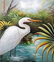100 hand painted canvas oil painting for wall art decor great white heron egret on white heron wall art with amazon 100 hand painted canvas oil painting for wall art decor