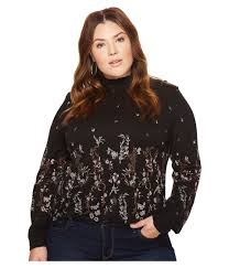 lucky brand plus size mock neck fl top bring feminine victorian influence to your wardrobe with