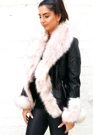 fur trim leather jacket faux trimmed look wrap over in black with cream guess moto
